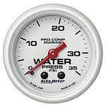 AutoMeter White Pro Comp 0-35 PSI Mechanical Water Pressure Gauge