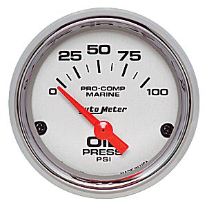 Autometer Chrome Ultra Lite Marine  0-100 PSI Electric Oil Pressure