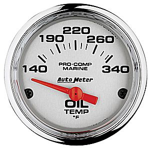 AutoMeter Chrome Ultra Lite Marine Oil Temp
