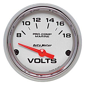 AutoMeter Chrome Ultra Lite Marine  Volts