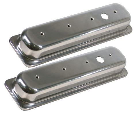 "Valve Cover, Small Block Chevy Aluminum Center Bolt Valve Covers - Extra Tall Height (3-11/16"" tall with bolts)"