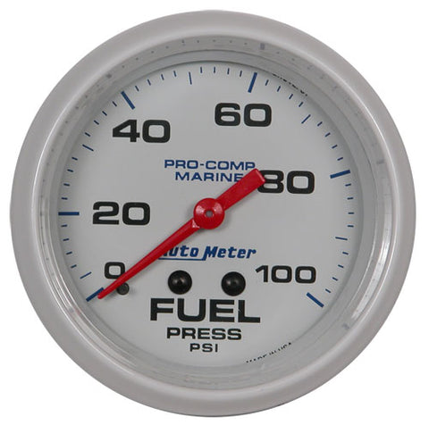 AutoMeter White Pro Comp 0-100 PSI Fuel Pressure Gauge