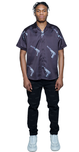 CSNV Black Gun Button Down