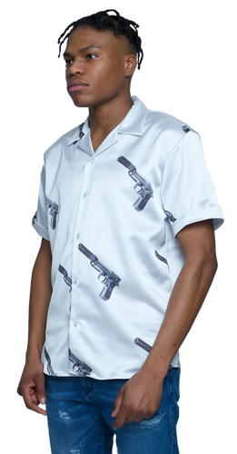White Gun Button Down