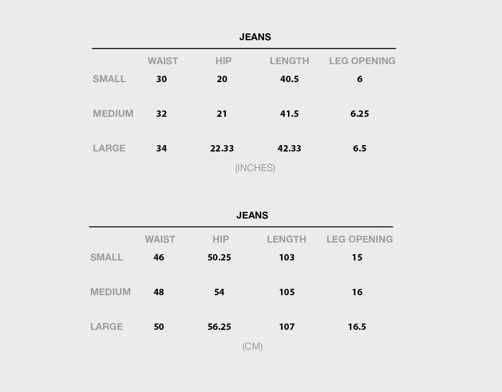 Size chart for Jeans