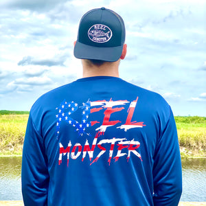 Reel Monster© Red White Blue Cool Performance L/S  RMWDF-3165