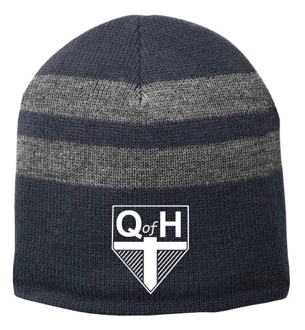 QOH - Fleece-Lined Striped Beanie Cap (C922)