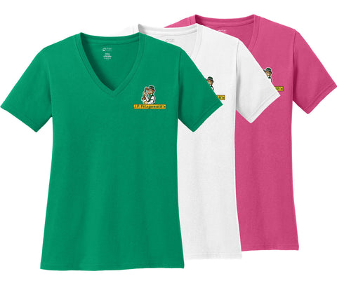 JPF - Embroidered Ladies Core Cotton V-Neck Tee (LPC54V)