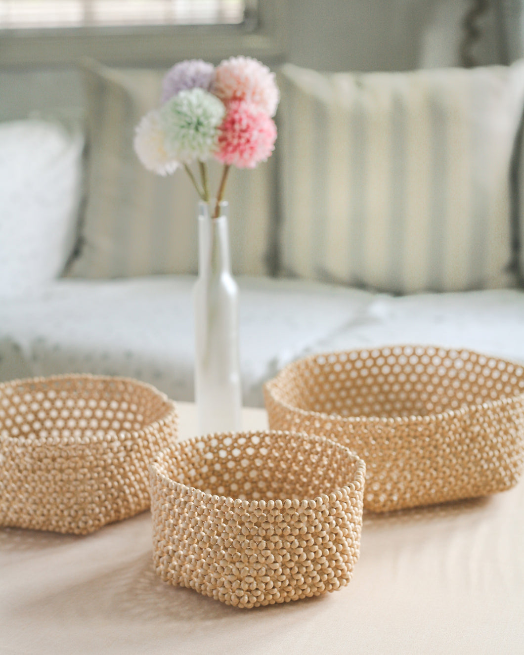 Habi Lifestyle Sinta Beaded Basket Tray