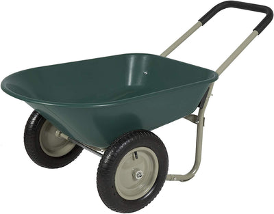 Dual Wheel Home Wheelbarrow Yard Garden Cart