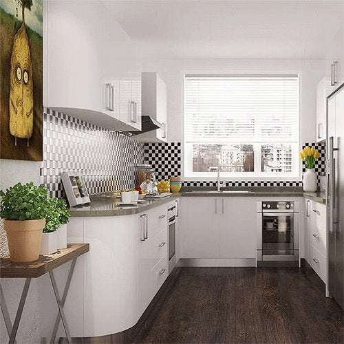 Modern Style White Lacquer Wooden Kitchen Cabinet