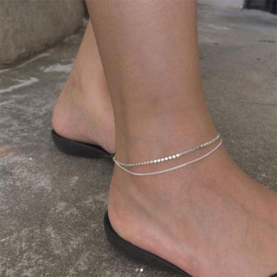 925 Sterling Silver Flat Bead Double Layer Anklets