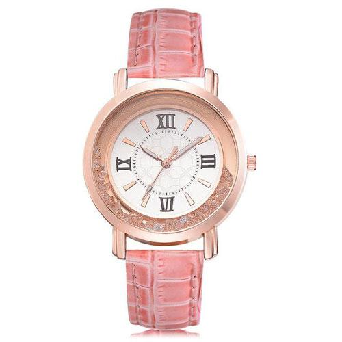 Ladies Rhinestone Leather Bracelet Wristwatch