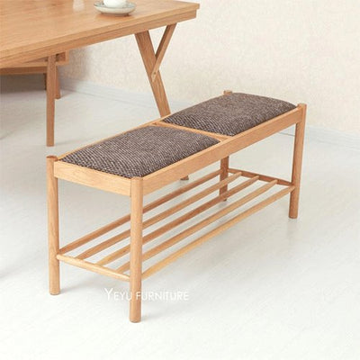 Solid Oak Wood Padded Shoes Changing stool