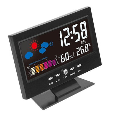 Electronic Digital LCD Desk Clock Temperature Humidity Monitor