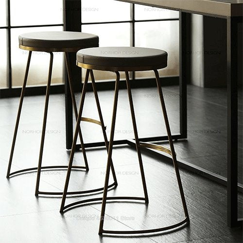 Iron Fashion Coffee Chair Gold High Stool