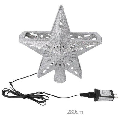 3D Star LED Christmas Tree Topper Built-in Rotating White Snowflake Projector