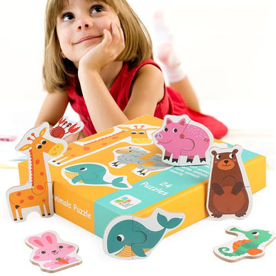 Kids Baby Wooden Animal Cognition Puzzle