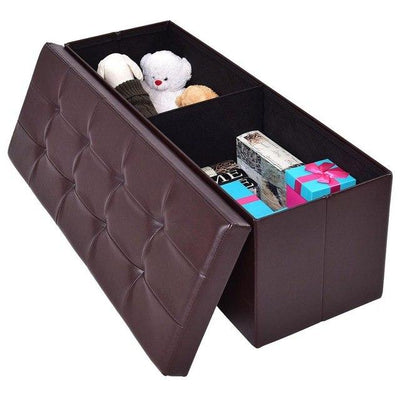 Storage Leather Ottoman Home Office Organizer Box Modern Stools