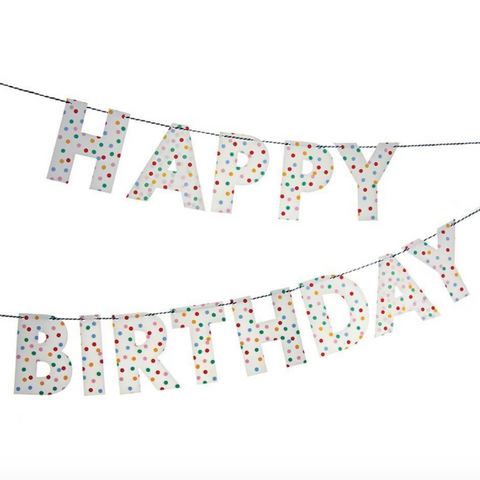 Polka Dot Spotty Happy Birthday Banner