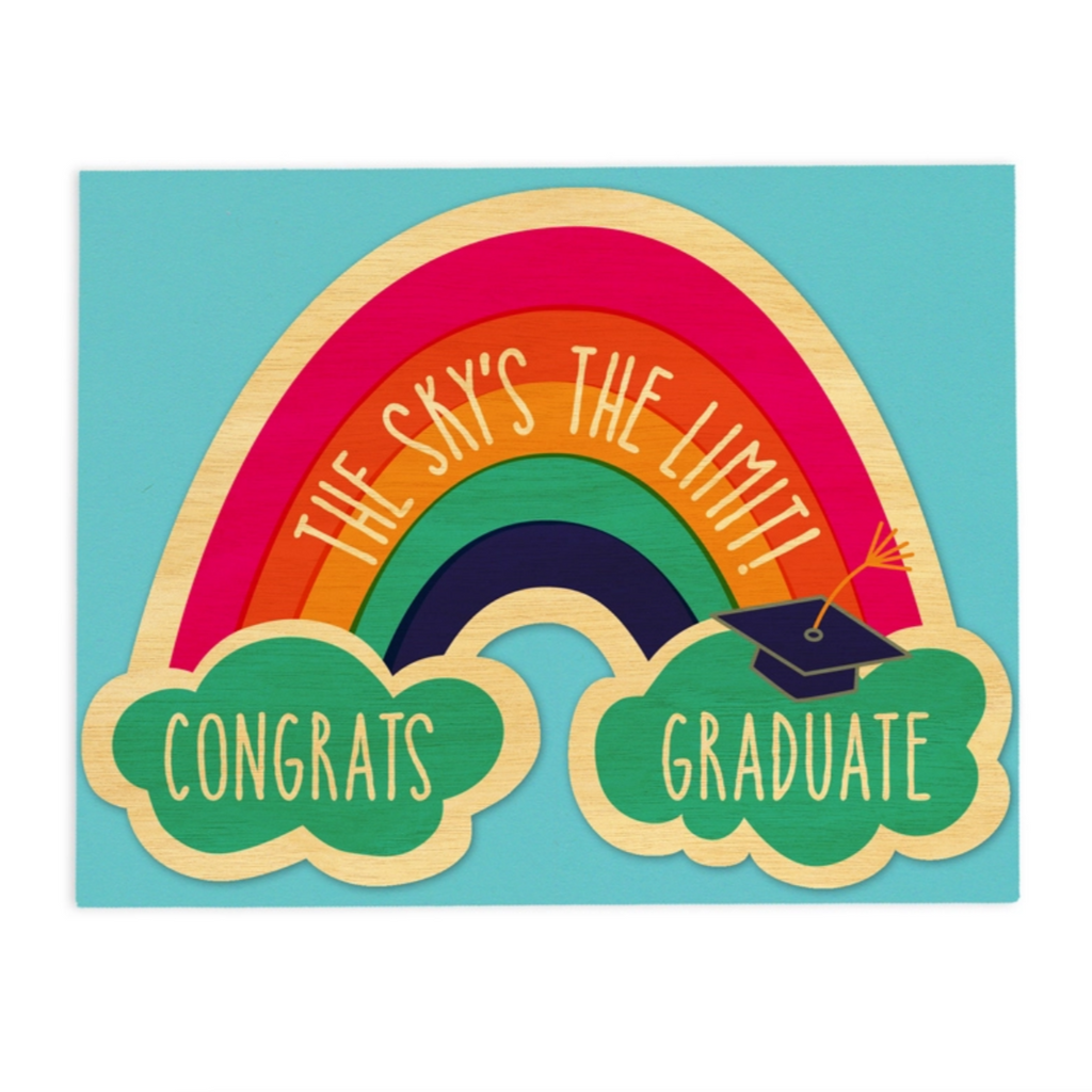 Graduation Rainbow Wood Card -Graduation
