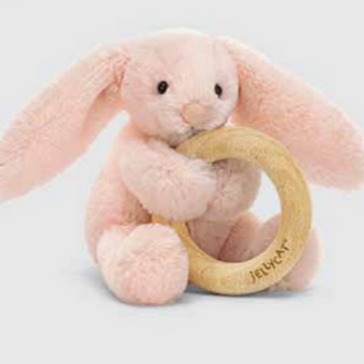 Jellycat Bashful Blush Bunny Wooden Ring Teether Toy