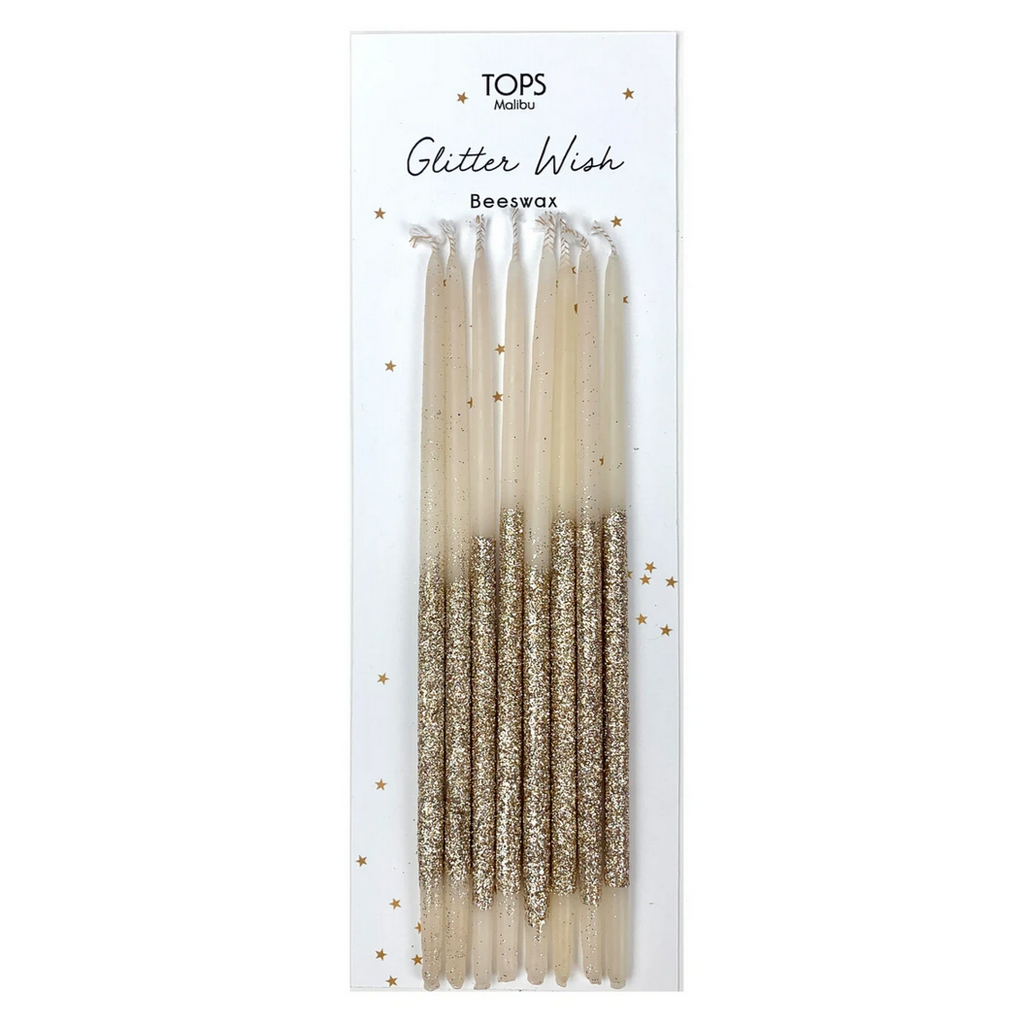 Glitter Wish Candles Beeswax Gold - 6""