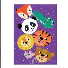 Animal Balloons Greeting Card Puzzle -Birthday