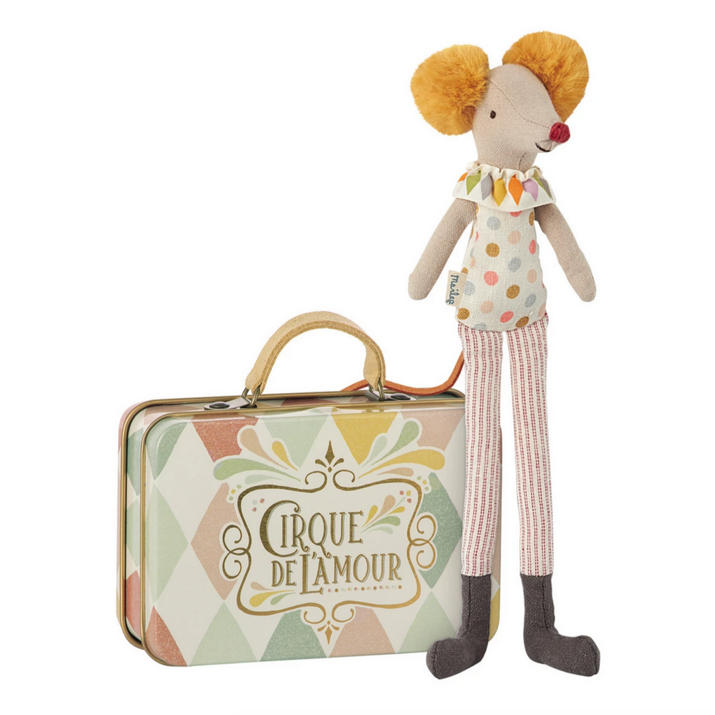 Circus Stilt Clown Mouse in a Suitcase