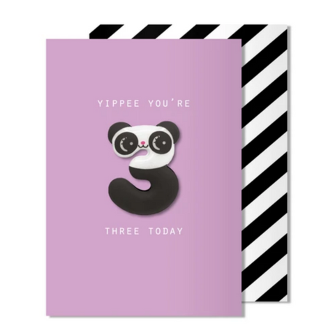 Age 3 Panda Magnet Card -Birthday