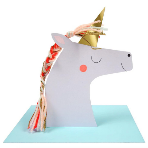 Unicorn with Colored Braid Card-Birthday