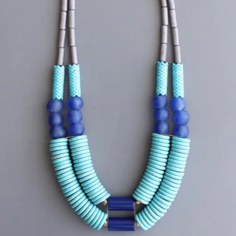 Magnesite, Glass and Brass Necklace