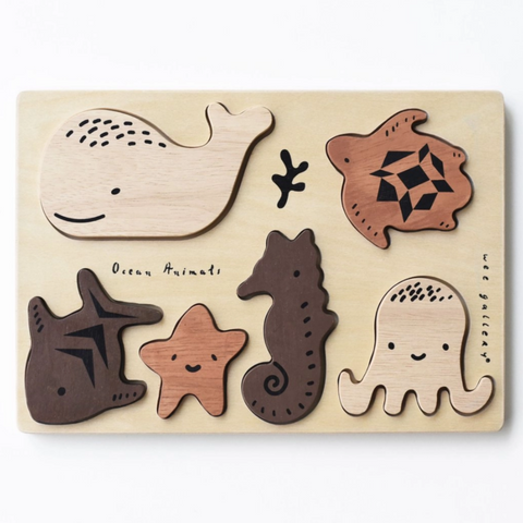 Wooden Tray Puzzle -ocean animals 0-3yrs