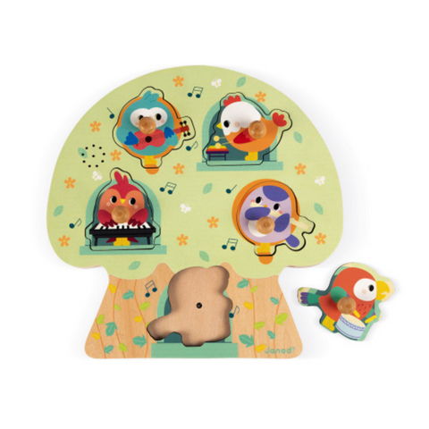Musical Puzzle Birdy Party 5 pcs (wood) 18m+
