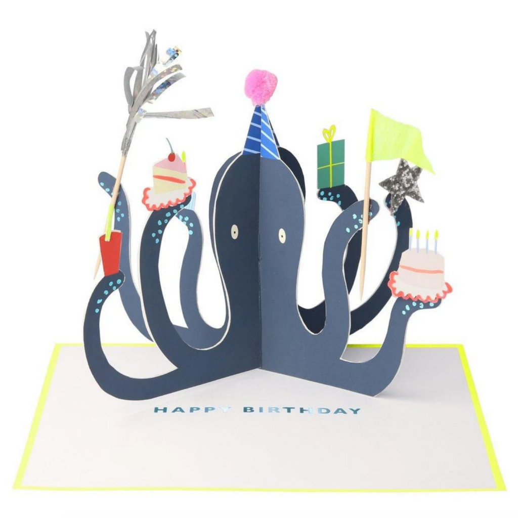 Party Octopus Stand-up Card-Birthday
