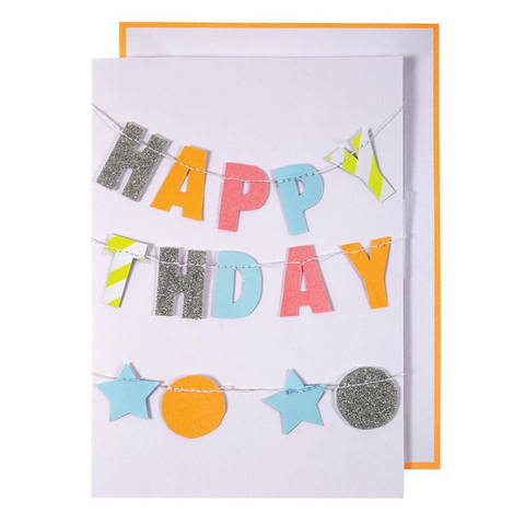 Colorful Happy Birthday Neon Garland Card -Birthday