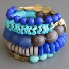 Wrap Bracelet with Brass, Magnesite, Wood, Glass and Agate.