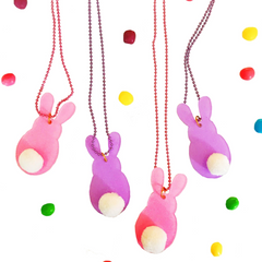 Large Pink Bunny Sparkle Necklace