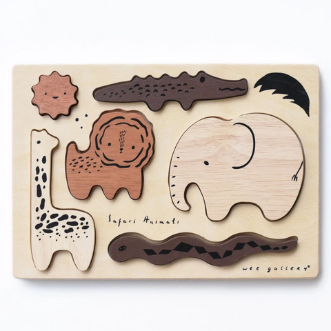Wooden Tray Puzzle -safari animals 0-3yrs