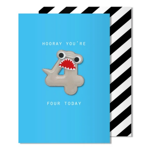 Age 4 Shark Magnet Card -Birthday