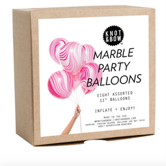 Pink and White Marble Party Balloons (pk8)