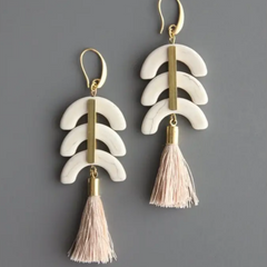 Magnesite and Silk Tassel Earrings