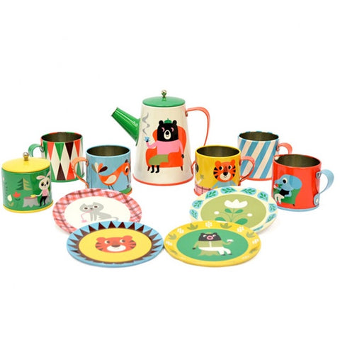 Tin Tea Set with Animals