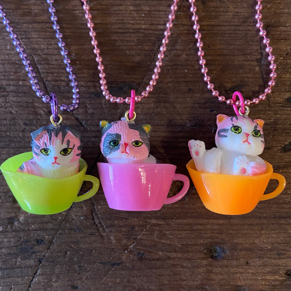 Kitty in a Teacup Necklace