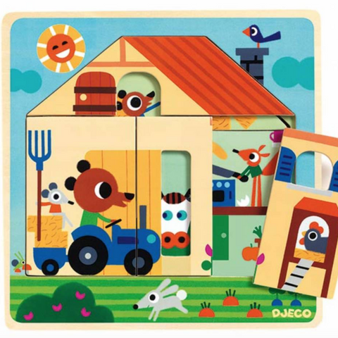 3 Layer Wooden Puzzle Chez Gabby 2+yrs