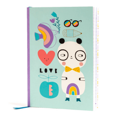 Notebook Panda love with Stickers- Soft Cover