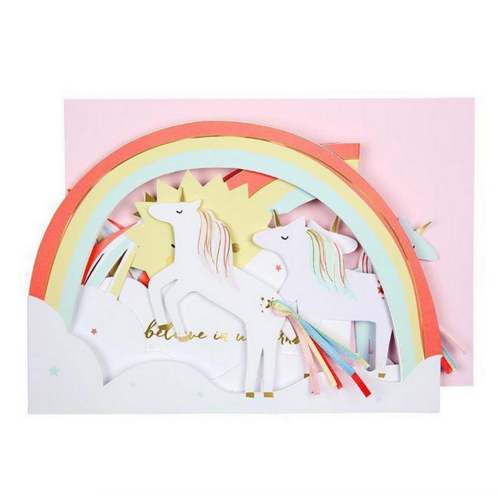 "Unicorn Concertina Card-""I believe in unicorns""-Blank"