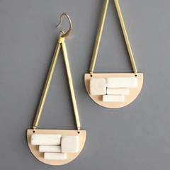 Brass Hook Earrings with Cubes of Magnesite