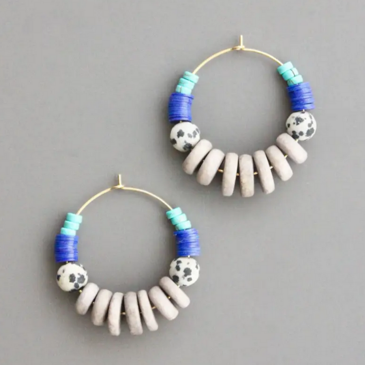 Gold Plated Hoop Earrings with Magnesite, Vinyl, Dalmatian, and Painted Wood