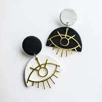 Talisman Black and White Evil Eye Fan Earrings
